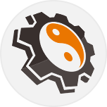 Mojo Host Icon - Orange and black cog and yin yang symbol for letter o in Host