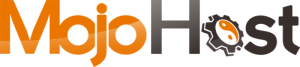 Mojo Host Logo - Orange and black sans-serif type with cog and yin yang symbol for letter o in Host