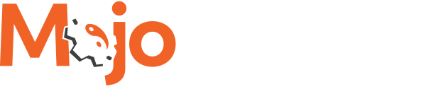 Mojo Shield Logo - Orange and white sans-serif type with gear in place of letter o